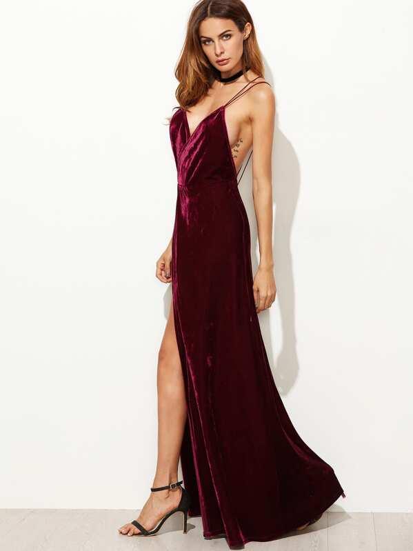 aa629fe16e0 Strappy Back High Split Surplice Velvet Dress