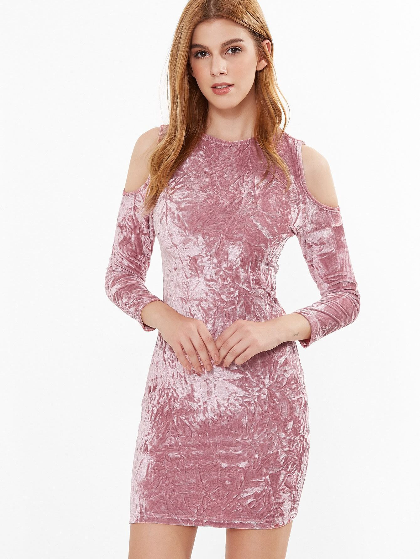 Vestido ajustado de terciopelo con hombros al aire - rosa -Spanish ...