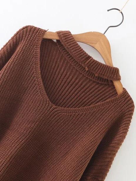Coffee Choker V Neck Zipper Sleeve Sweater