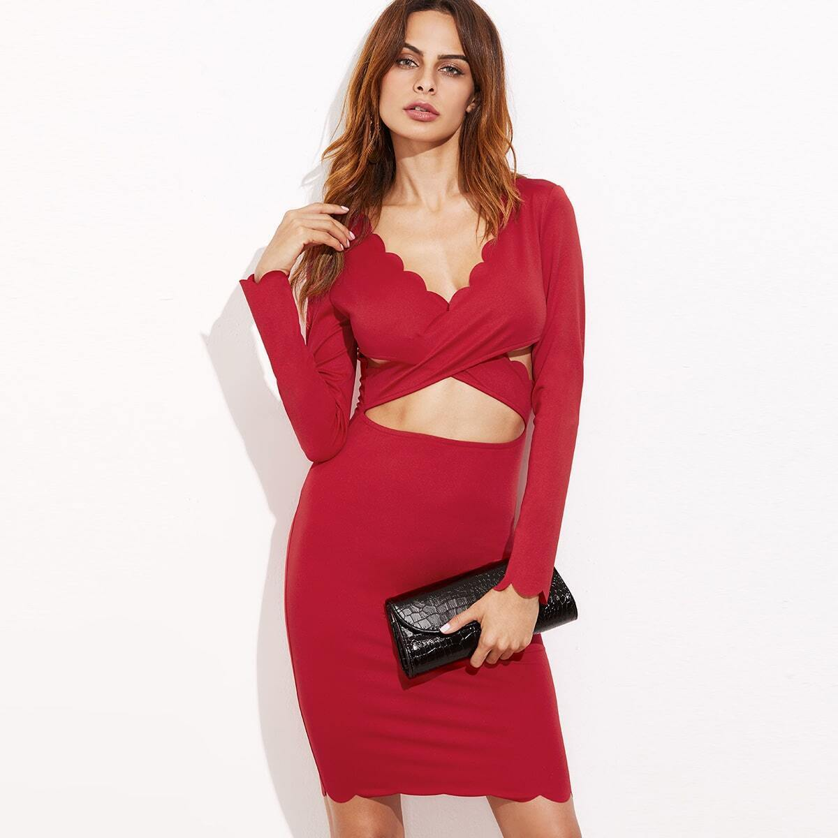 Crossover Peekaboo Scalloped Bodycon Dress