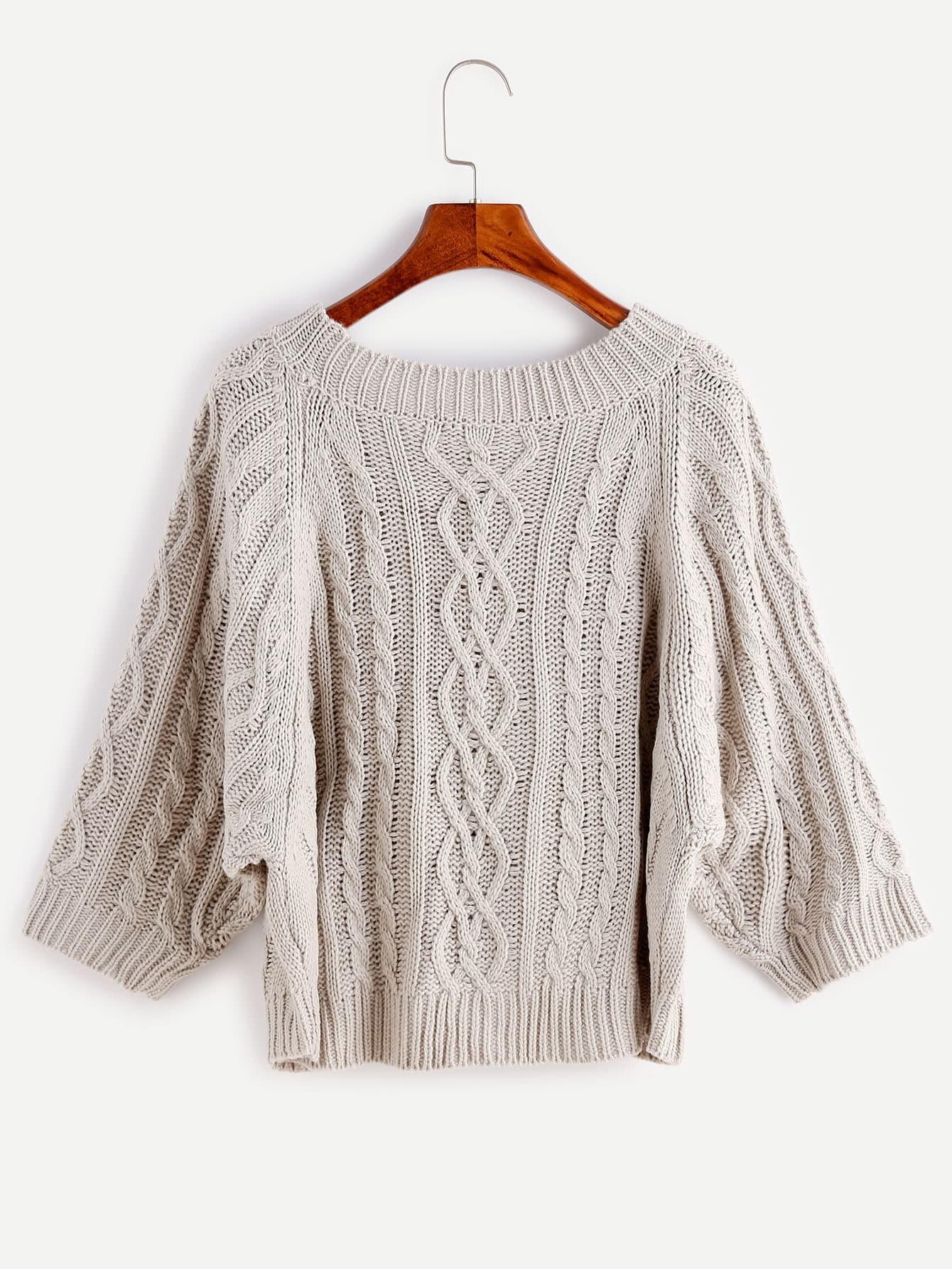 Knitting Pattern For Dolman Sleeve Sweater : Grey Cable Knit Dolman Sleeve Sweater -SheIn(Sheinside)
