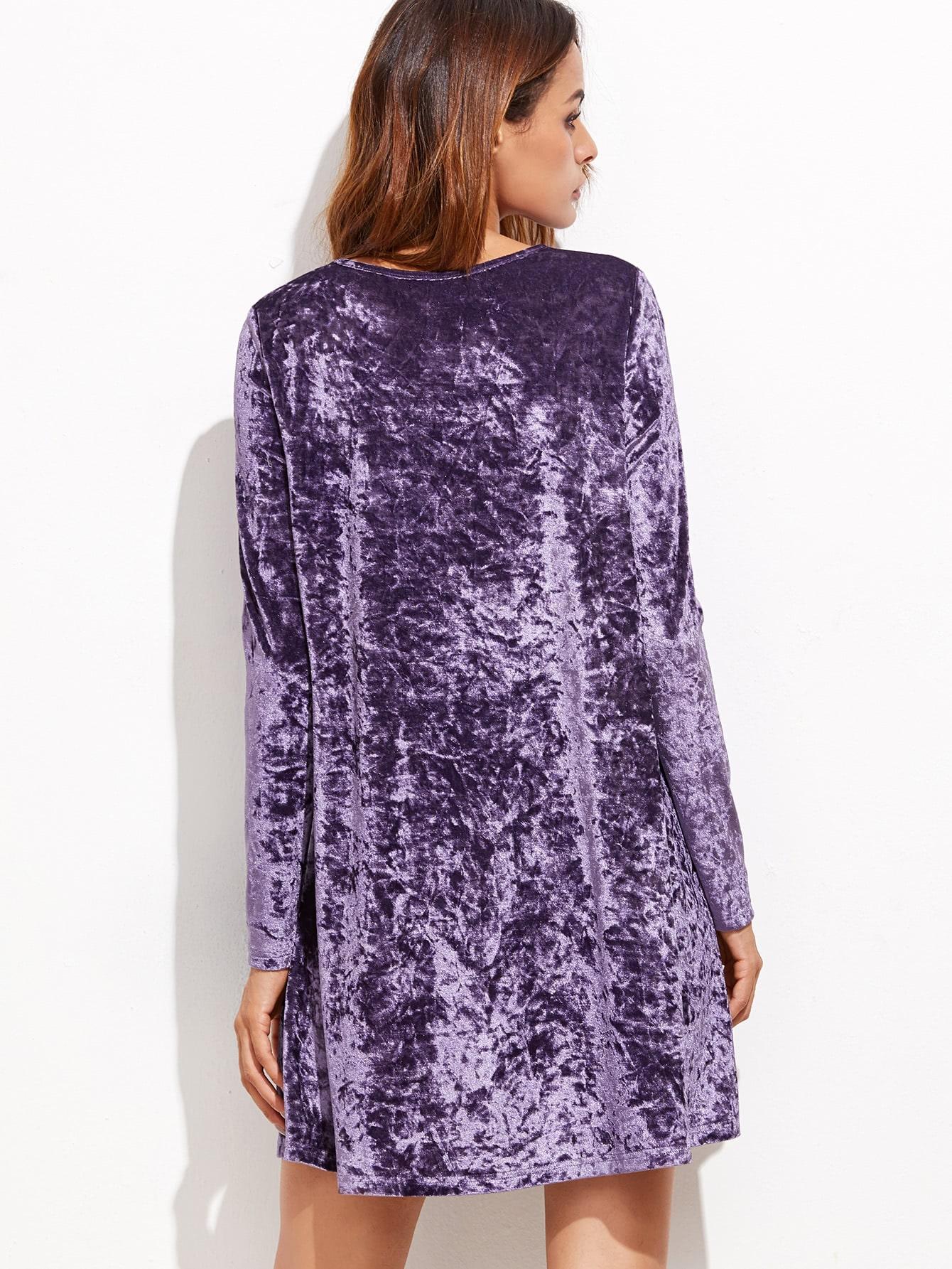 Vestido recto manga larga de terciopelo - violeta -Spanish SheIn ...