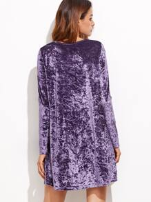 9b76d3d7bc4a Purple Crushed Velvet Swing Dress