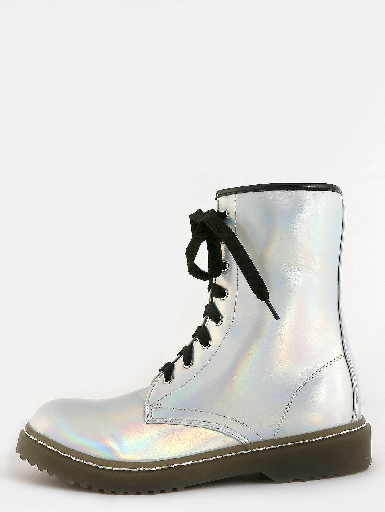 5f86374287983 Holographic Lace Up Combat Boots SILVER