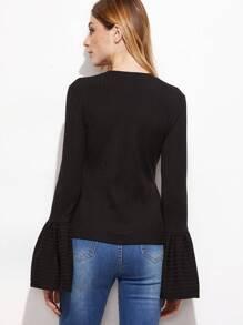 Black Ribbed Split Side Bell Sleeve T-shirt pictures