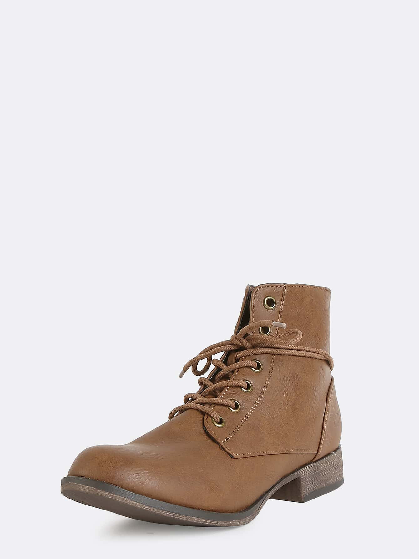 lace up leather ankle boots brown shein sheinside
