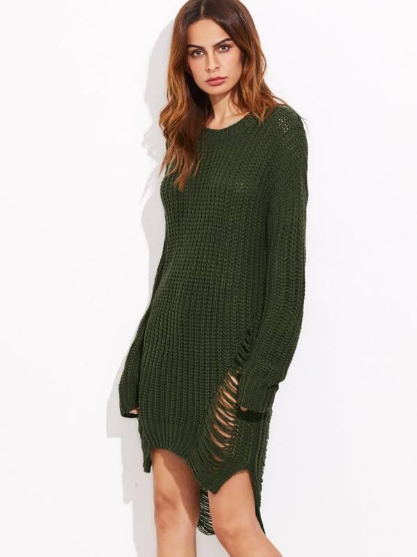 Lang Oliv Design Zerrissen Kurz Pullover Vorne Kleid Mit Grün Hinten wOn0P8kX