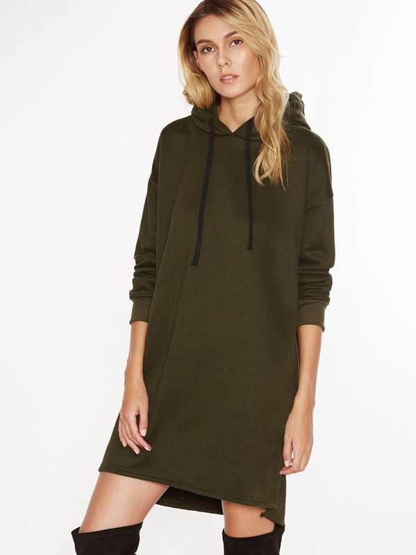grosses soldes haute qualité offres exclusives Hooded Drawstring Split Side Sweatshirt Dress