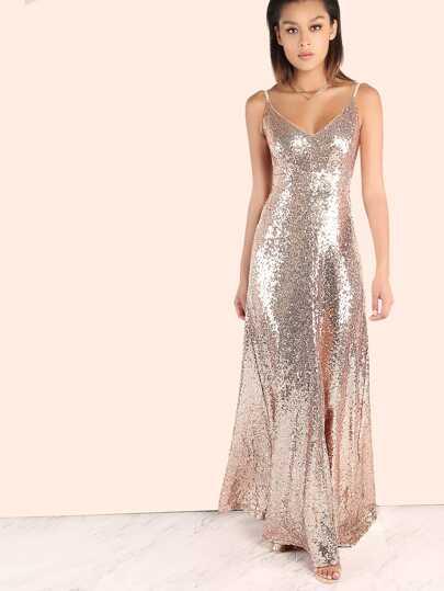 Backless Sequin Cami Maxi Prom Dress  9e59d8804