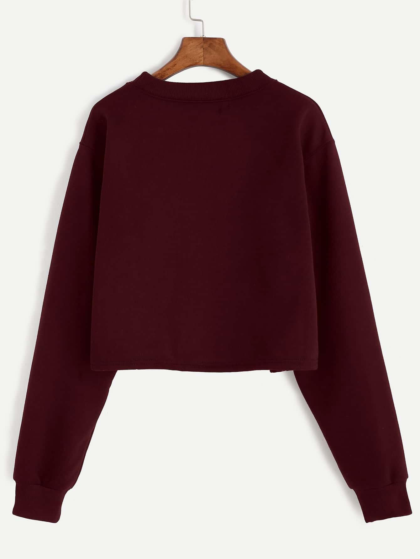 Burgundy Alien Embroidered Crop Sweatshirt