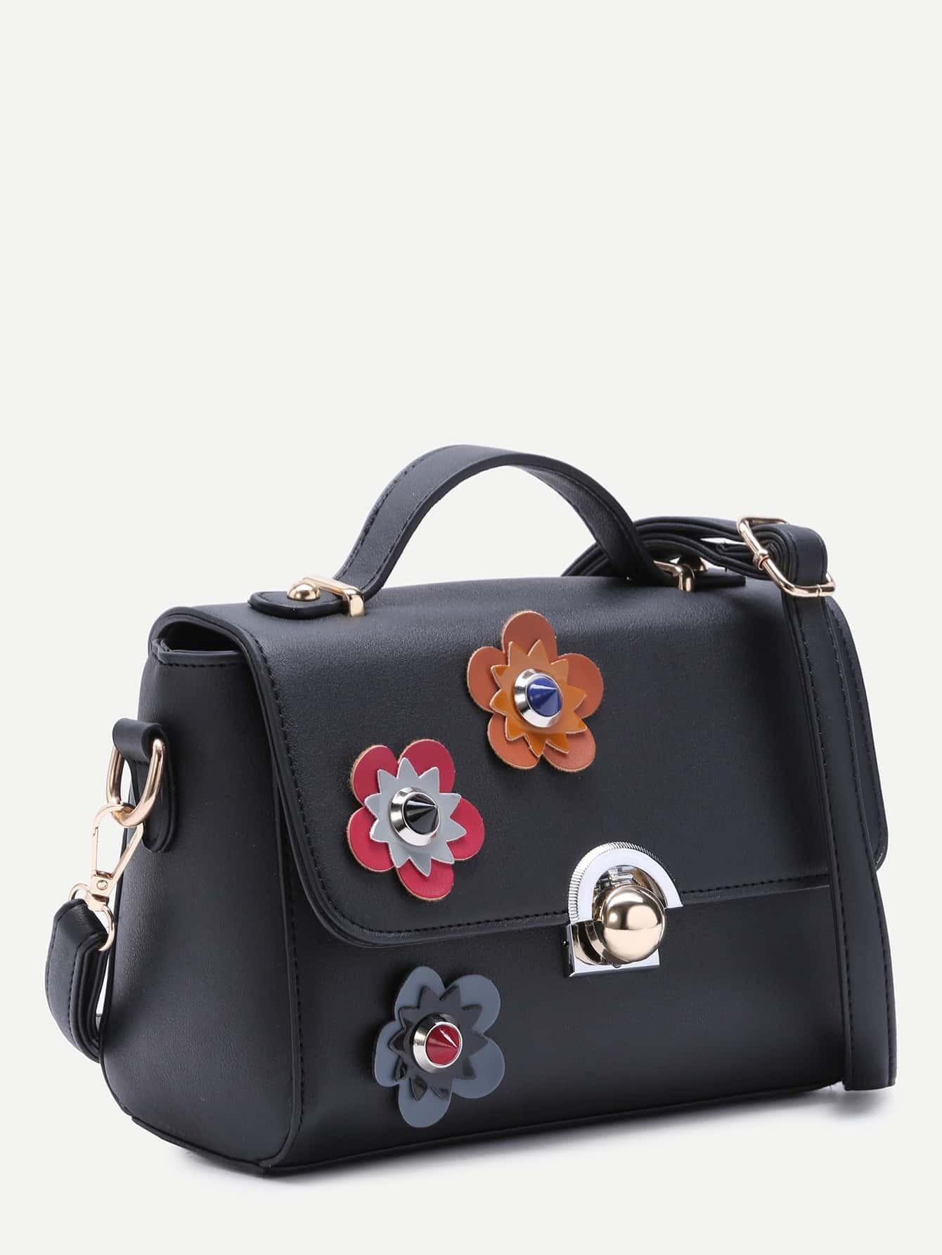 Floral Patch Black PU Crossbody Bag -SheIn(Sheinside)