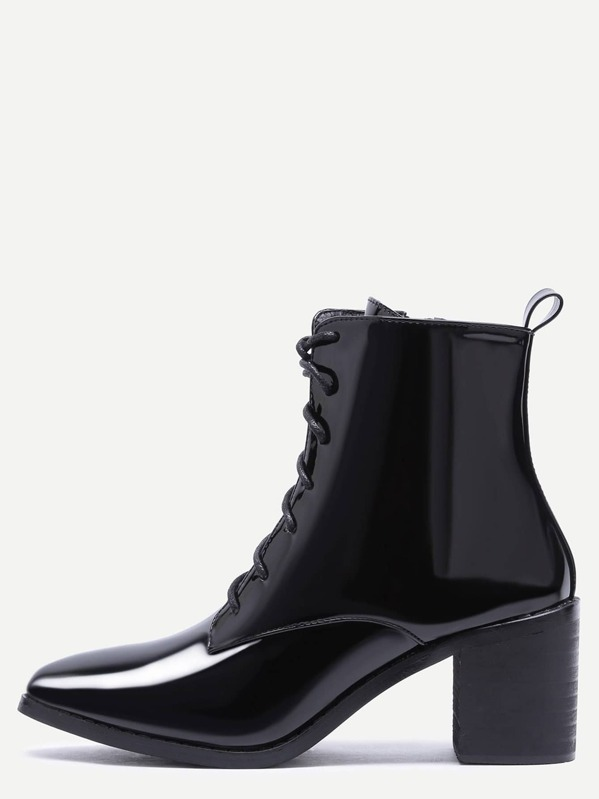 587fde36de6ab Black Patent Leather Point Toe Lace Up Booties | SHEIN UK
