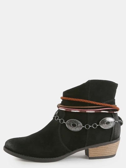 Western Inspired Ankle Booties BLACK
