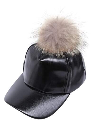 Black Faux Leather Detachable Pom Pom Baseball Cap