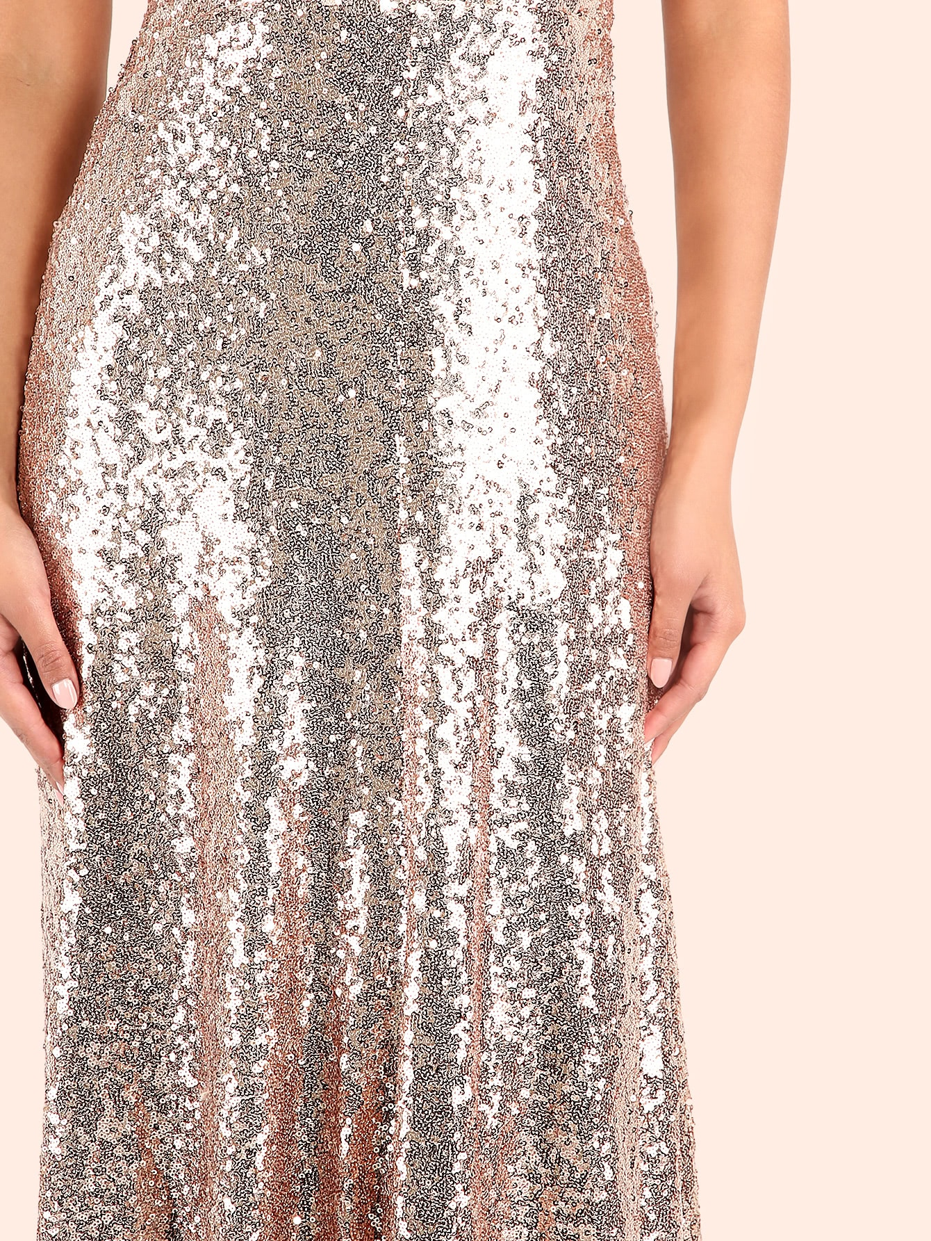 5e04fe8eac Backless Sequin Cami Maxi Prom Dress | SHEIN