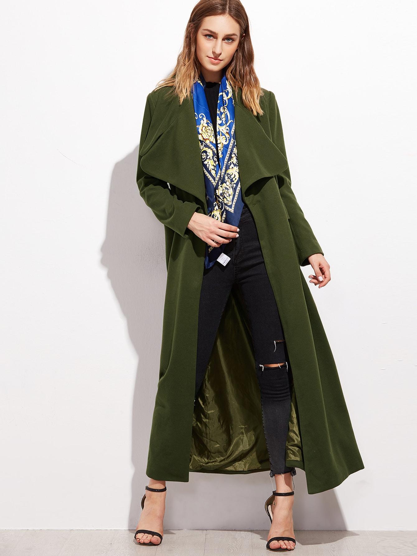 Olive Green Oversized Collar Long Coat | SHEIN