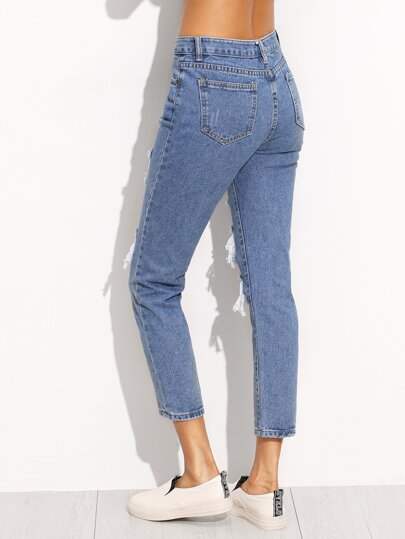 Blue Ripped Ankle Jeans -SheIn(Sheinside)