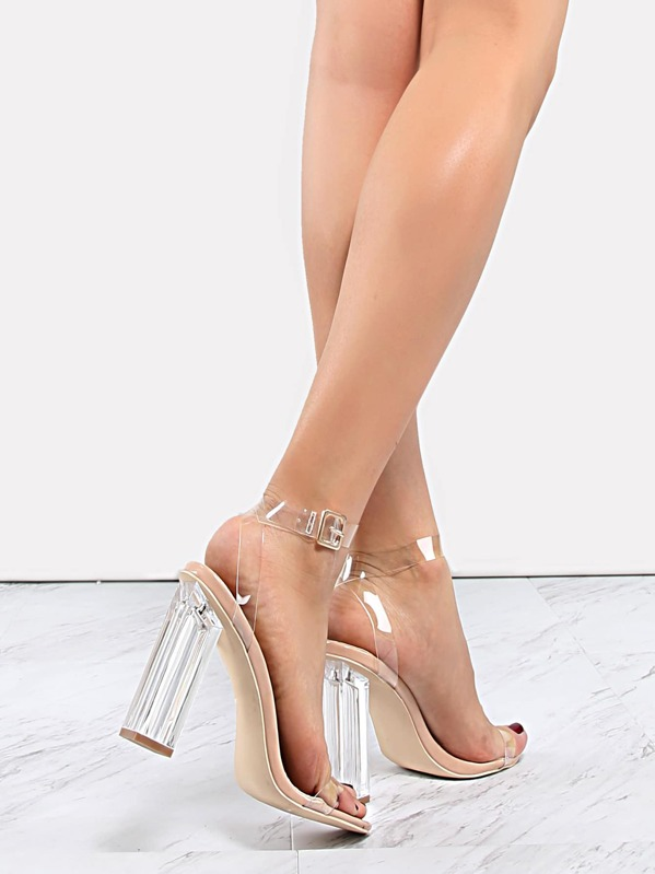 Cheap Clear Strap Perspex Heels TRANSPARENT for sale Australia