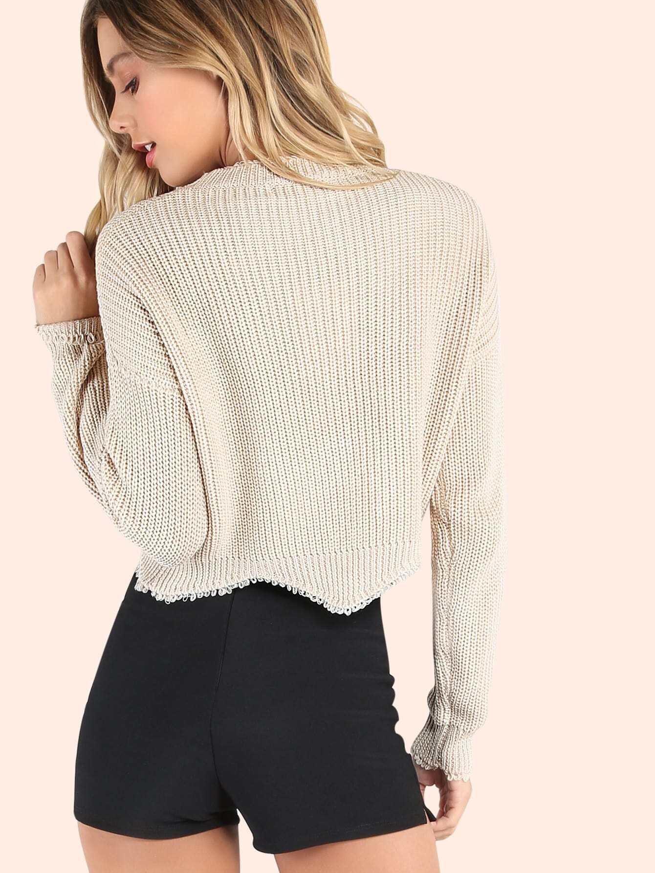 Crew Neck Knit Sweater BEIGE -SheIn(Sheinside)