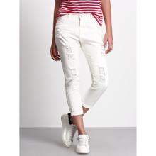 Frayed Ripped Capri Jeans pant161012099