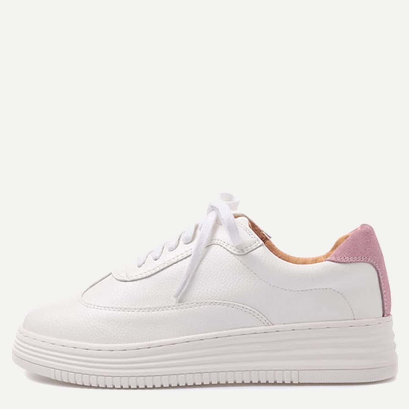 Zapatillas de deporte de PU - blanco y rosa