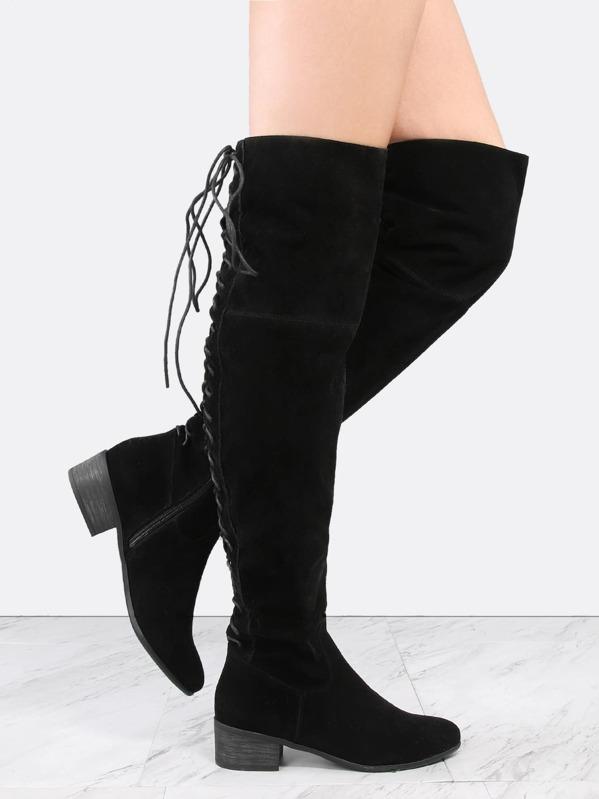 65cbbb3e0022 Lace Back Suede OTK Boots BLACK -SHEIN(SHEINSIDE)