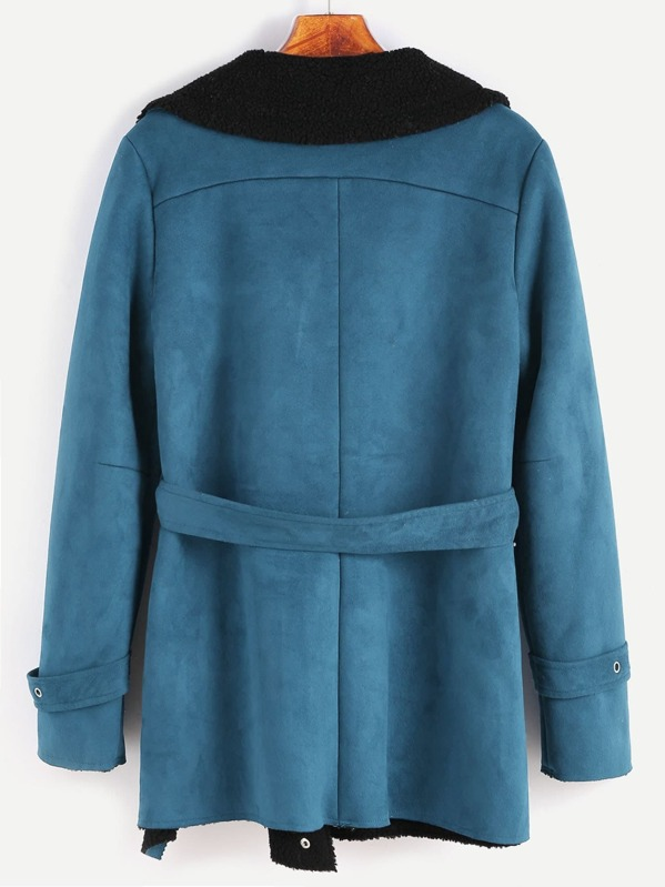 1df00306bf Green Faux Shearling Asymmetric Zip Belted Jacket. AddThis Sharing Buttons