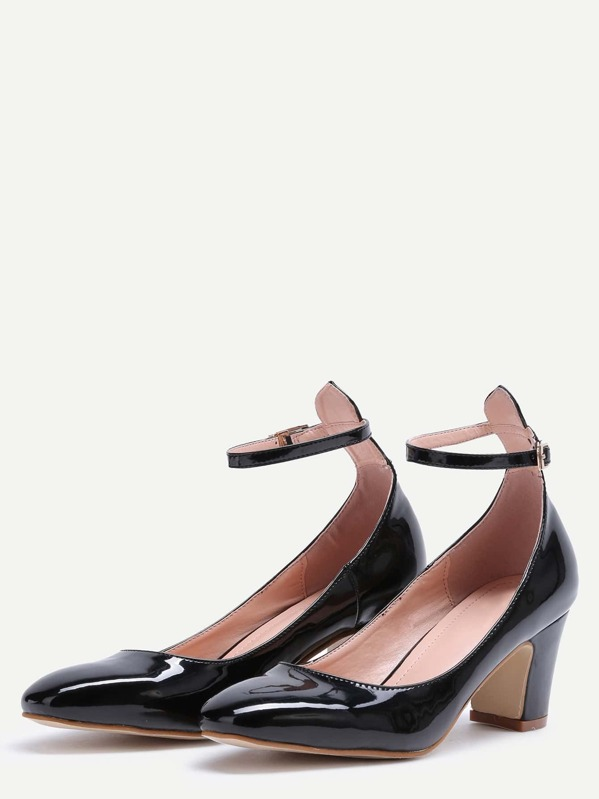 bd1078c2f0 Cheap Black Patent Leather Ankle Strap Chunky Heels for sale Australia |  SHEIN