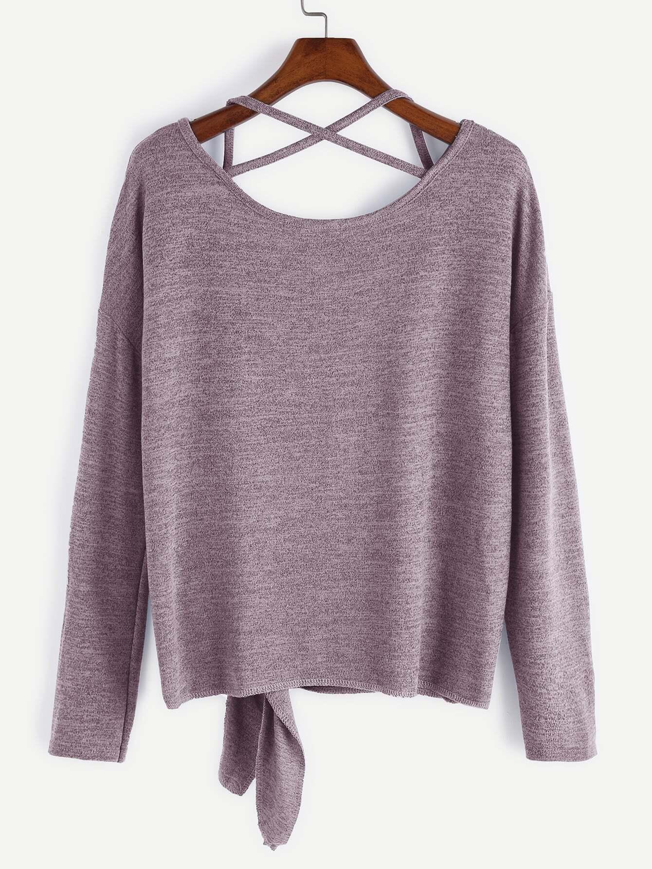 Pink Drop Shoulder Criss Cross Tie Front T-Shirt