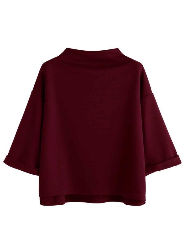 ecf41810 Mock Neck High Low Cuffed T-shirt   SHEIN