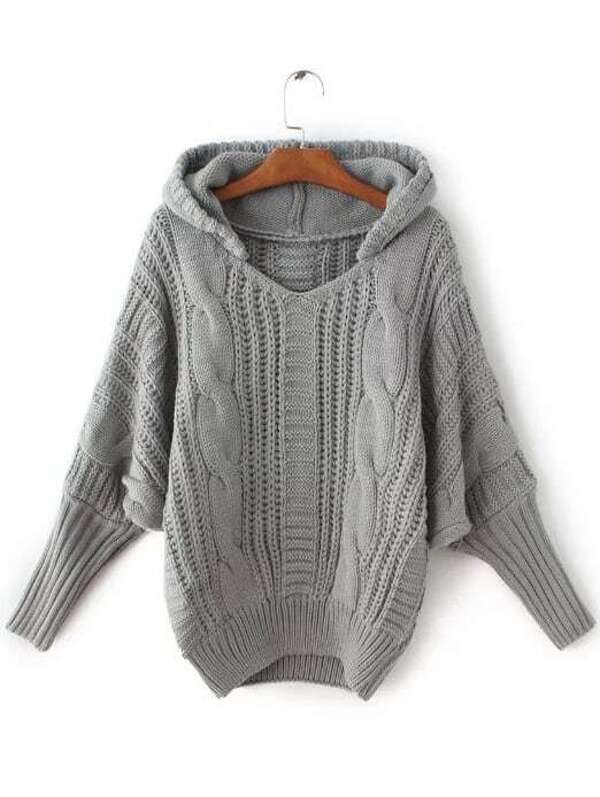 Grey Cable Knit Hooded Sweater Sheinsheinside