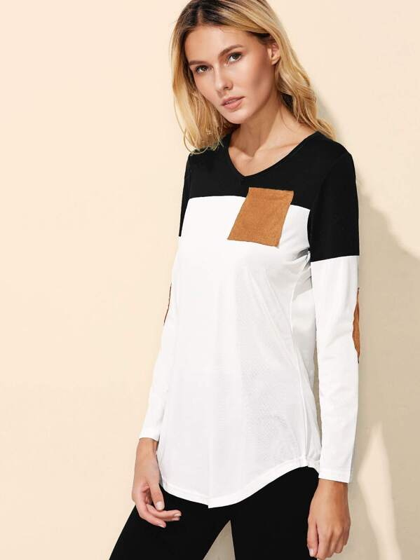 c6e61324f5 Color Block Elbow Patch Curved Hem T-shirt   SHEIN
