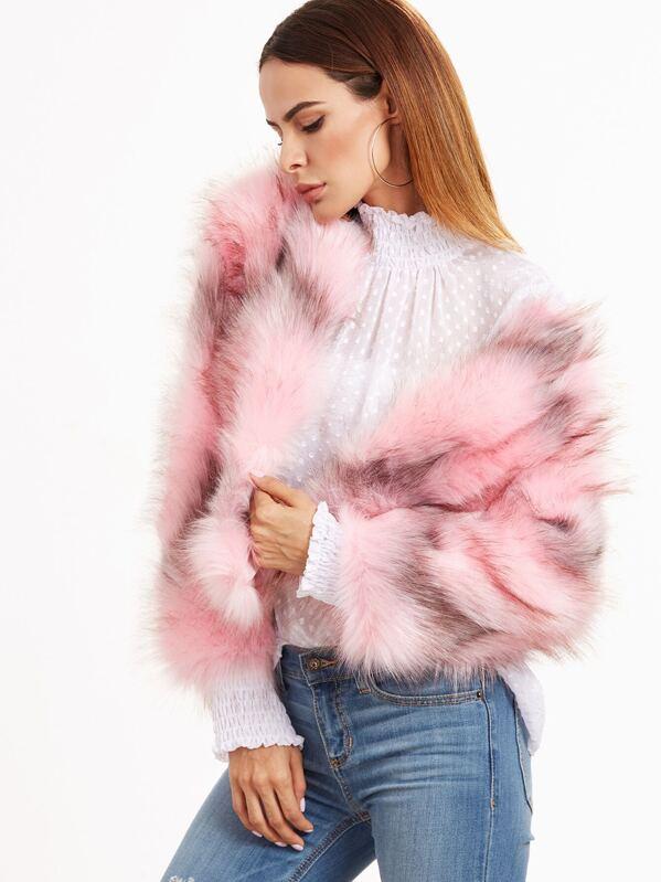 9336e9407129 Pink Open Front Faux Fur Coat