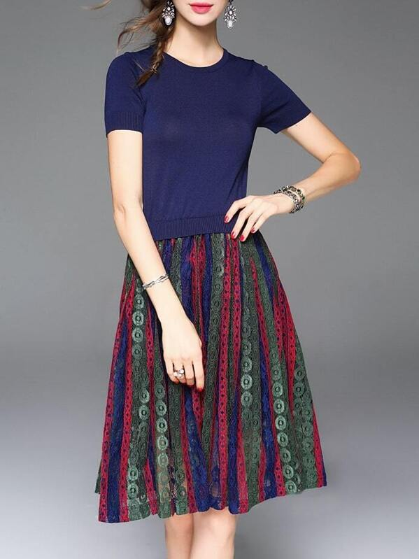 6e43a9596 Vestido diseño combinado con encaje de color combinado | SHEIN ES