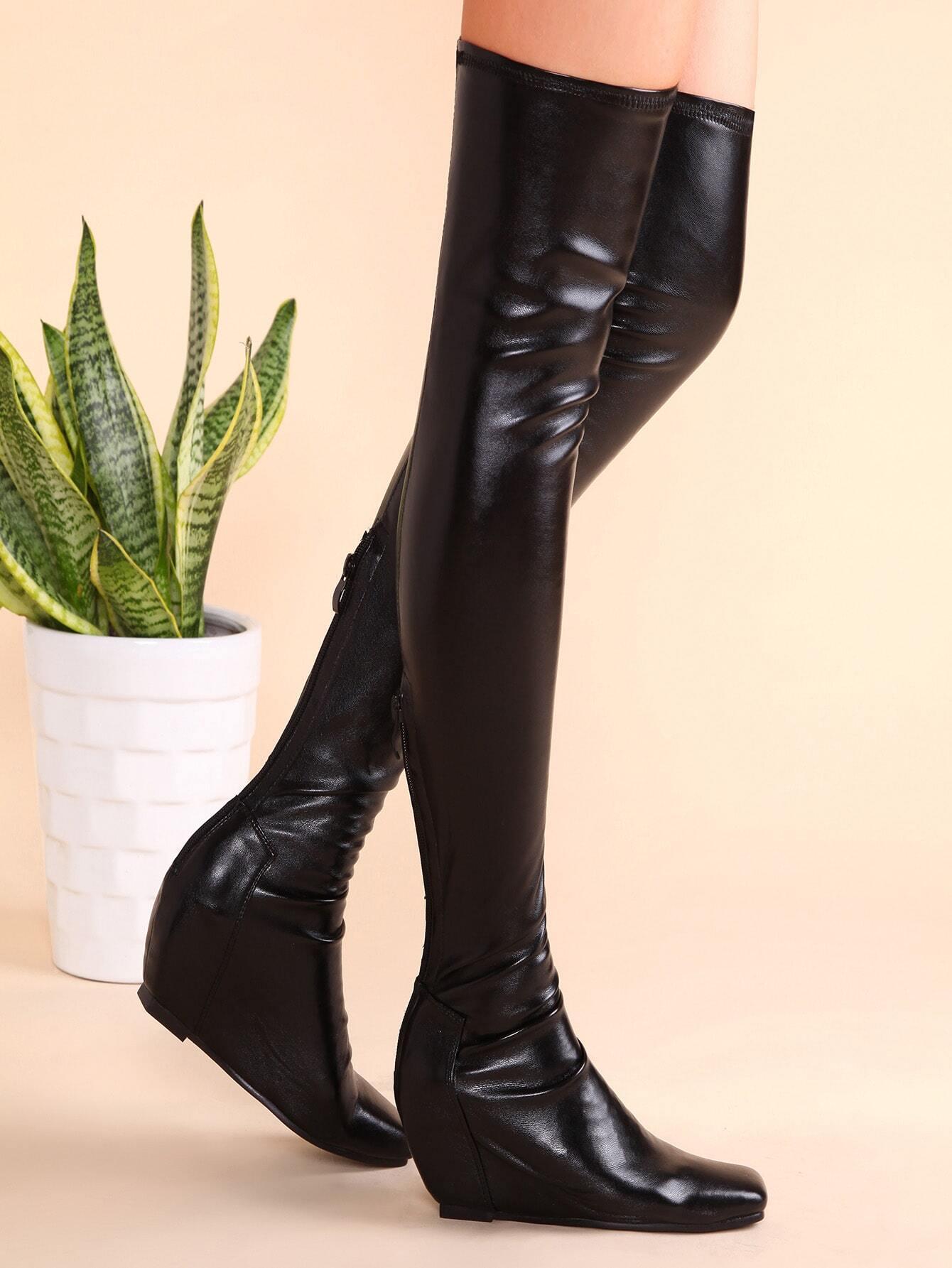 62dc0730f163 Black PU Square Toe Back Zipper Hidden Wedge Thigh High Boots  -SheIn(Sheinside)