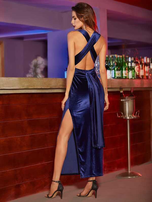Kleid Velvet mit hohem Schlitz - blau- German SheIn(Sheinside)