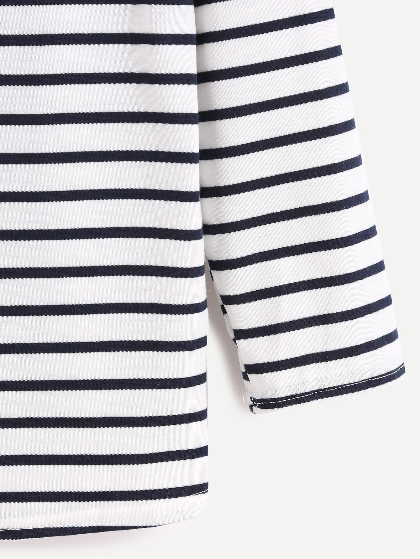 Black White Striped Dropped Shoulder Seam T-shirt