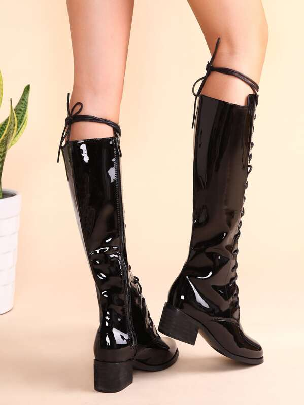 bf8182460927 Black Patent Leather Lace Up Knee Boots -SHEIN(SHEINSIDE)