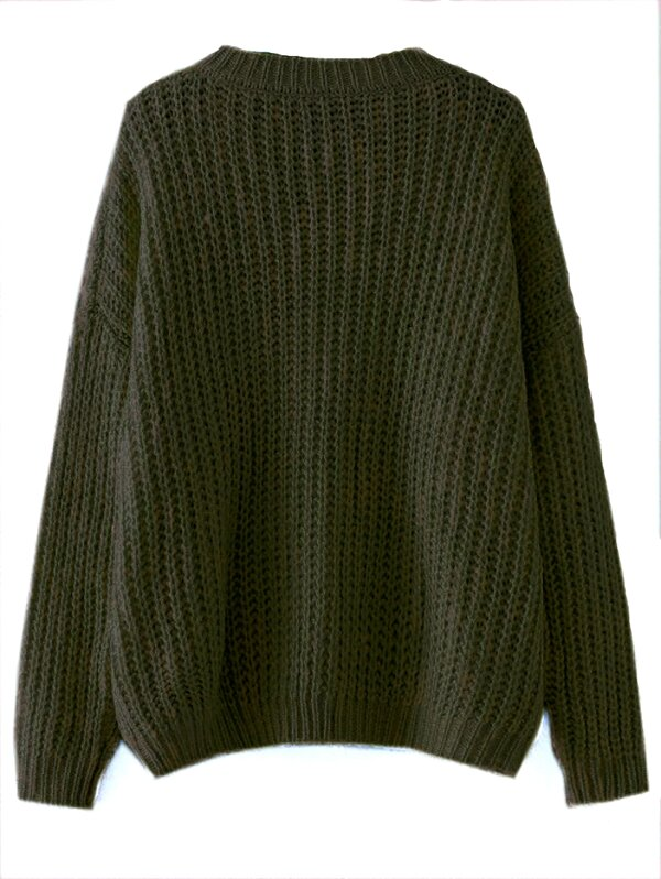 662dfed47aab Olive Green Drop Shoulder Textured Sweater