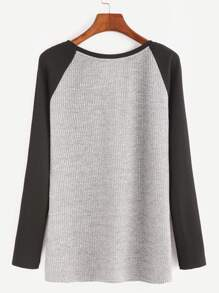 Heather Grey Contrast Raglan Sleeve Ribbed Knit T-shirt pictures
