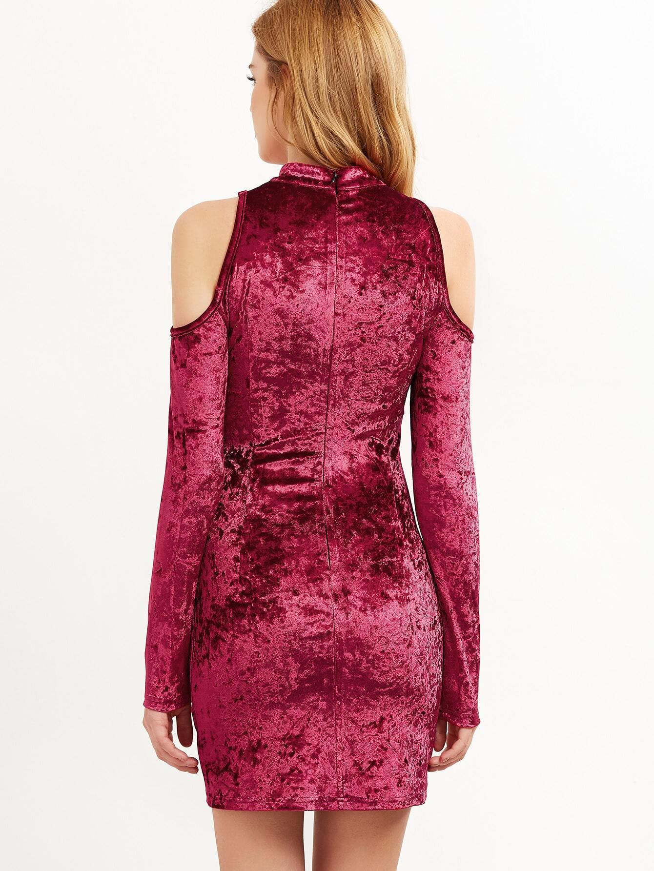 Burgundy Cold Shoulder Crushed Velvet Bodycon Dress