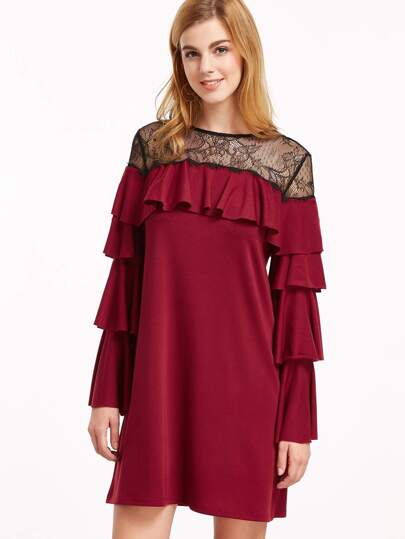 Burgundy Contrast Sheer Neck Layered Sleeve Ruffle Dress