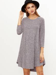 Grey Marled Knit Ribbed Swing Dress SHEIN