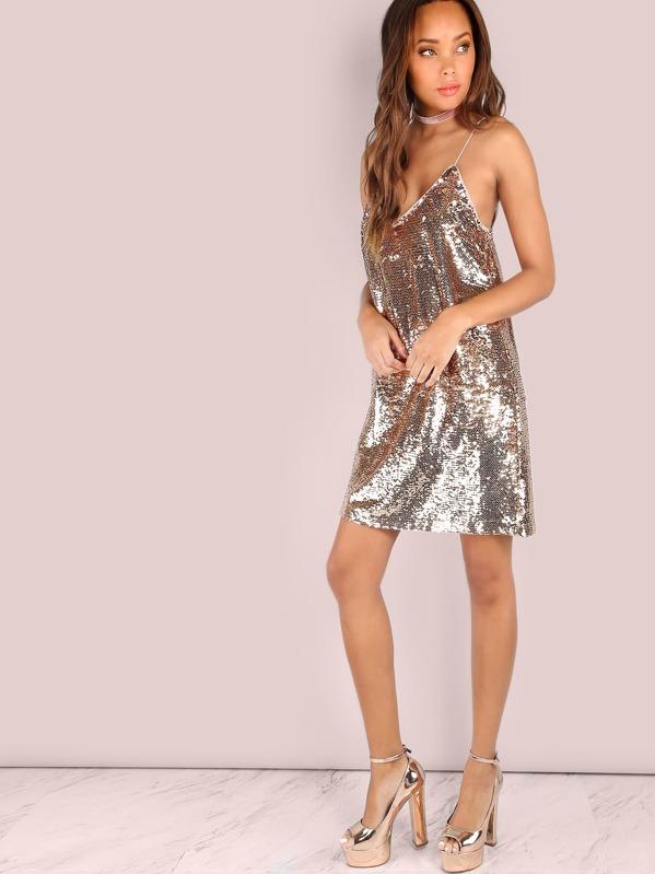 Rosa Con Cami Oro Paillettes Mini Vestito E9HD2I