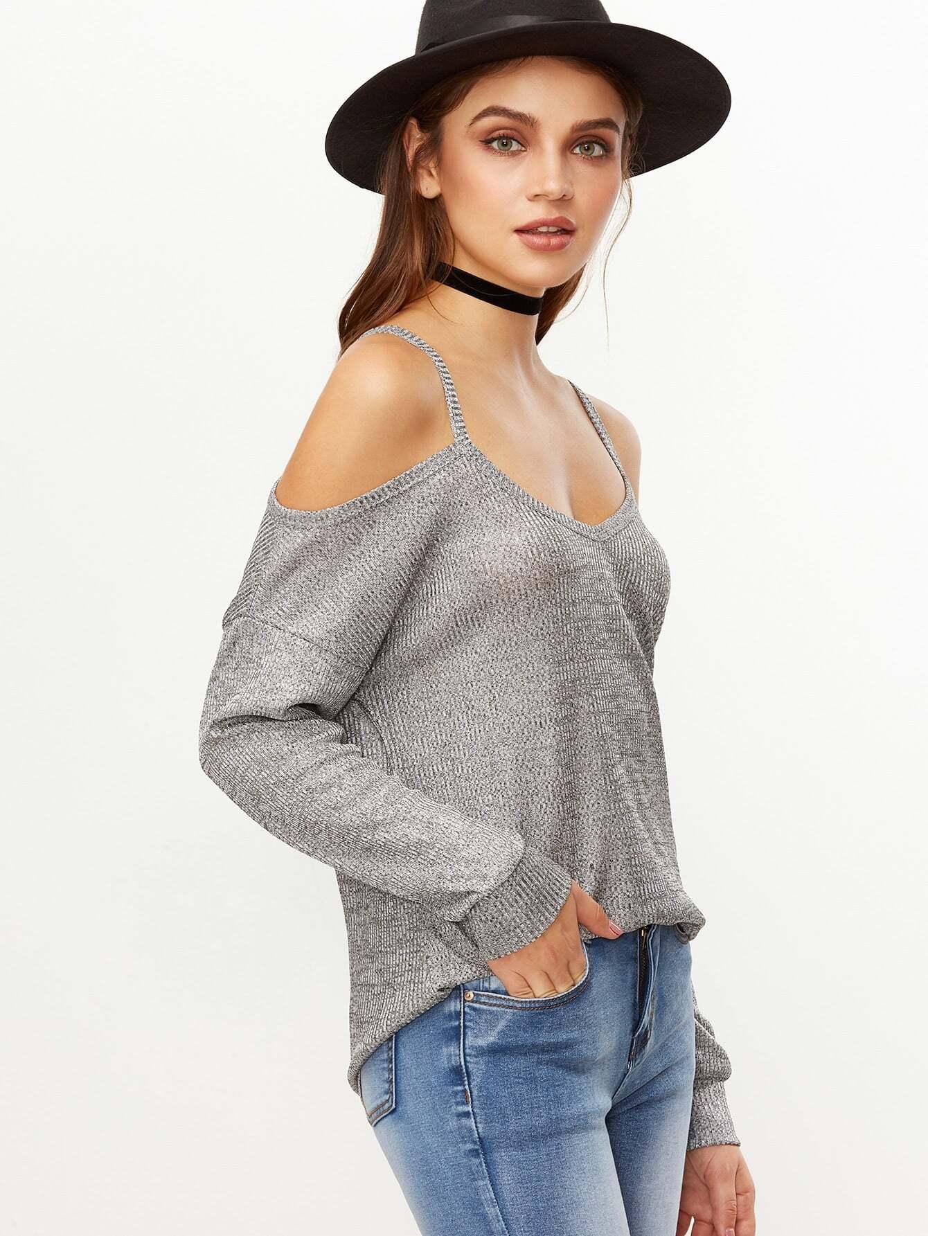 Grey Cold Shoulder Dip Hem Ribbed T-shirt