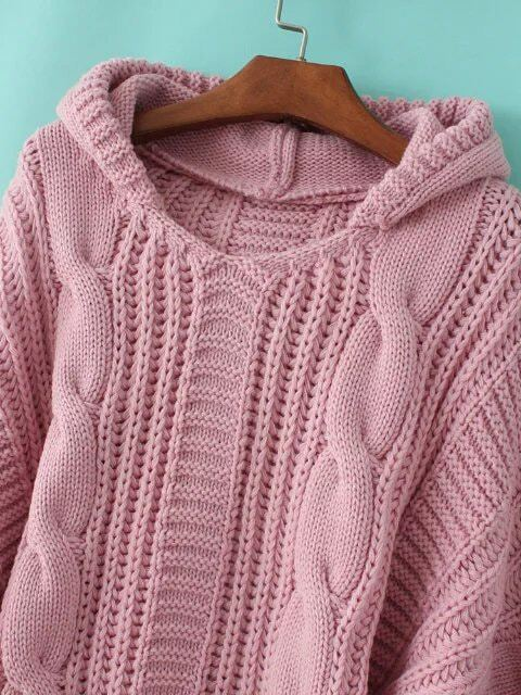 Pink Cable Knit Hooded Sweater Sheinsheinside