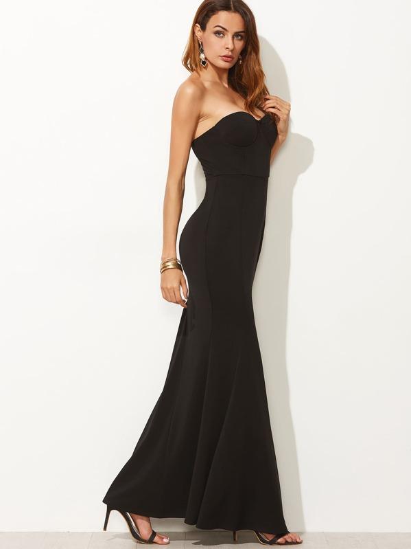 95ce4ac03a Vestido escote corazón y diseño cola de pez - negro