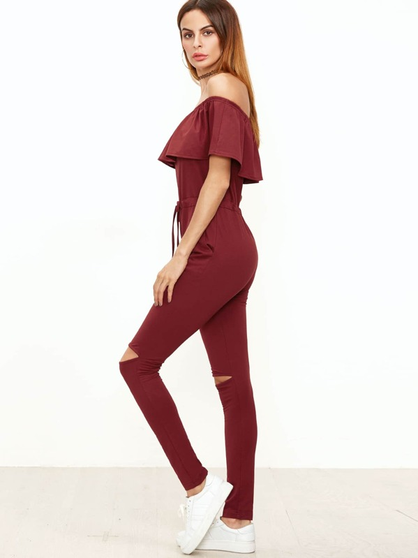28151623556 Burgundy Ruffle Off The Shoulder Knee Ripped Sweat Jumpsuit. AddThis  Sharing Buttons