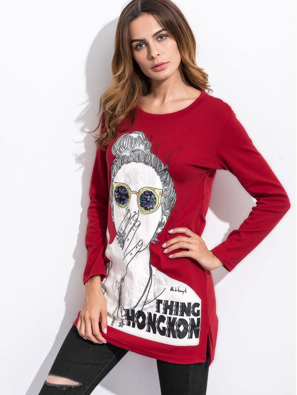 6aaf40ea0da64 T-shirt imprimé fille avec paillettes fente sur côté asymétrique -bordeaux  rouge