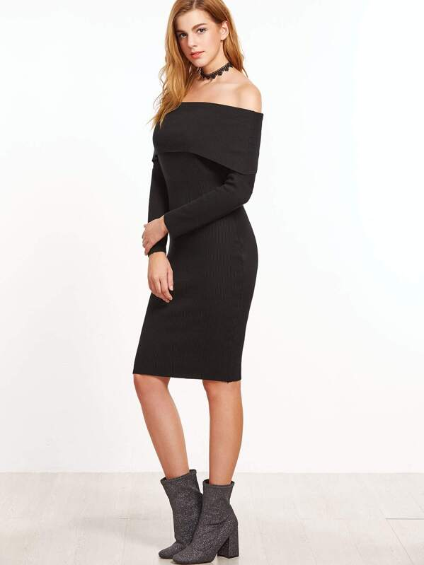 Black Off The Shoulder Foldover Sweater Dress Sheinsheinside